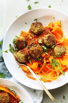 Lentil meatballs made with just 10 ingredients in 30 minutes! Savory, tender, flavorful, and perfect atop gluten free pasta or carrot noodles!
