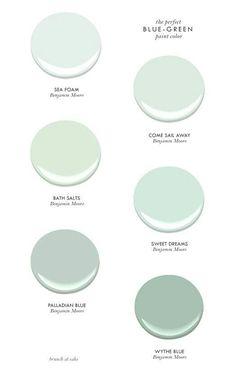 The Perfect Blue-Green Benjamin Moore Paint Colors - Sea Foam, Come Sail Away, Bath Salts, Sweet Dreams, Palladian Blue & Wythe Blue Blue Green Paints, Green Paint Colors, Interior Paint Colors, Wall Colors, House Colors, Coastal Paint Colors, Green Aqua, Spa Paint Colors, Hallway Colors