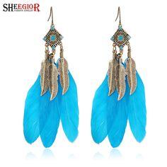 Богемия винтаж синий перо кристалл длинные серьги падения бронза покрытие крюк пирсинг серьги для женщин элегантные украшения