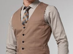 The Voyager Tan Cotton & Silk Vest 1