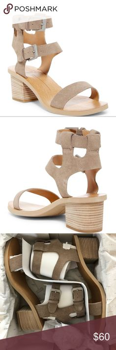 """Dolce Vita Sandals Dolce Vita West Dual Ankle Strap Sandal. Open toe, banded vamp construction, open cupsole, mock stacked Block Heel, approx 2.5"""" Heel. Suede upper, manmade lining and sole. Taupe color Dolce Vita Shoes Sandals Ankle Strap Sandals, Shoes Sandals, Open Toe Shoes, Taupe Color, Construction, Closet, Building, Armoire, Closets"""