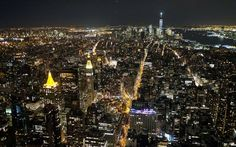 New York's Manhattan is pictured from the Observatory of the Empire State Building on a clear night in the Big Apple