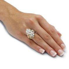 Shop for Yellow Gold-plated Cubic Zirconia Cluster Ring - White. Get free delivery On EVERYTHING* Overstock - Your Online Jewelry Shop! Clean Sterling Silver, Sterling Silver Jewelry, Antique Jewelry, Vintage Jewelry, Jewelry Tags, Body Jewelry, Grandmother Jewelry, Earrings Handmade, Handmade Jewelry