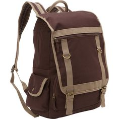 Bellino Expresso Canvas Compucase - With protective pockets to hold your laptop and tablet, this backpack offers sporty style and ample