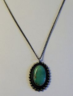 Antique Sterling Silver and Turquoise Pendant Necklace by onetime, $30.00