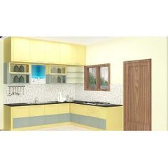 Discus L - Shaped Kitchen with Laminate Finish