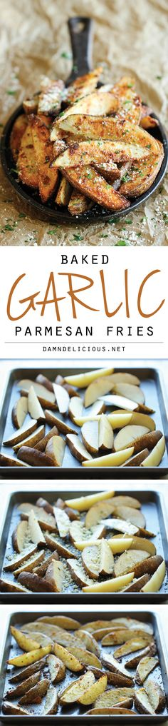 Garlic Parmesan Fries - Amazingly crisp, oven-baked fries coated with freshly grated Parmesan and a generous dose of garlic goodness! L baked fries; Side Recipes, Vegetable Recipes, Vegetarian Recipes, Cooking Recipes, Vegetarian Cooking, Parmesan Fries, Garlic Parmesan, Baked Garlic, I Love Food