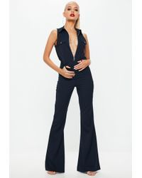 ac4879866b5d Missguided - Navy High Neck Utility Wide Leg Jumpsuit - Lyst Vintage  Jumpsuit