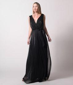 Maxi Κρουαζέ Φόρεμα Lurex - Μαύρο Formal, Black, Dresses, Style, Fashion, Preppy, Vestidos, Swag, Moda