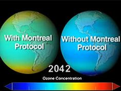 This image shows projected ozone concentrations for the year 2042, with (left) and without (right) the Montreal Protocol to reduce CFCs begun in the 1980s.