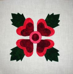 Lancaster Rose Baltimore Album Appliqued  Quilt Block by zizzybob, $6.00