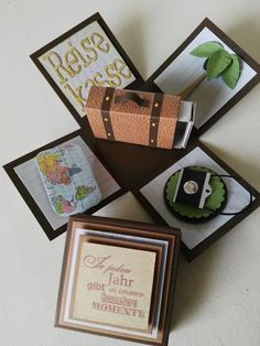 Explosionsbox Reise Explosion box trip blast box trip The post blast box trip appeared first on gifts ideas. Don D'argent, Boite Explosive, Exploding Box Card, Travel Box, Magic Box, Origami Box, Marianne Design, Birthday Balloons, Stamping Up