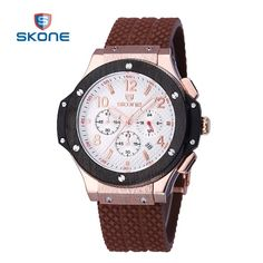 SKONE Chronograph Watches Men Silicone Strap Big Face Waterproof Sport Watch Casual Army Military Wristwatch