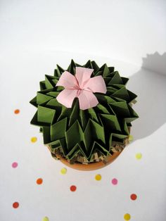 Decorative Origami Pink Blossom Olive Green Cactus
