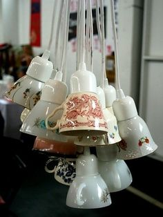 Yes, I'm obsessed with strange light fixtures, here's a tea cup DIY one. Diy Light Fixtures, Light Fittings, Renegade Craft Fair, Style Deco, Home Lighting, Lighting Ideas, Craft Fairs, Home Projects, Tea Lights