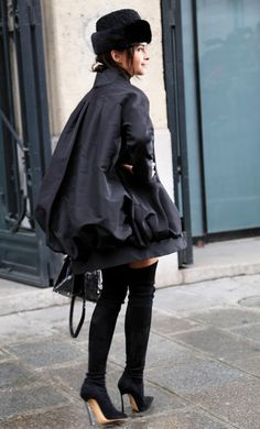 Miroslava Duma in #Chic Black Street Style at Spring Summer 2014 Paris Haute #Couture #fashion