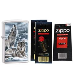 Zippo 28002 Mazzi Brushed Chrome Howling Wolves Windproof Pocket Lighter with Two Flint Card and One Wick Card. This. Zippo. lighter,. flint,. and.