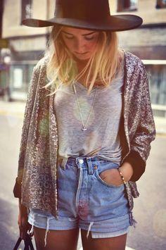 Jean shorts - Hat - Vest #festival #female #fashion