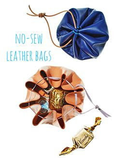 These DIY leather pouches don't require any sewing and shut tights thanks to a matching tote strap.