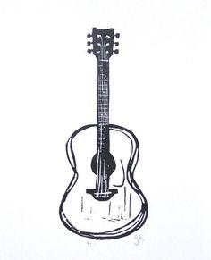 acoustic guitar linocut print // more art here