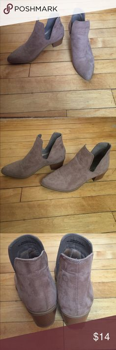 Tan booties Tan booties with side cutout detail. Size 7, got them despite being a 7.5 cause I loved them but after a few wears I have to admit they are just too small for me! In great, like new condition. Mixx Shuz Shoes Ankle Boots & Booties