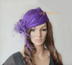 Purple sinamay hat fascinator with ostrich&coq by QESC on Etsy