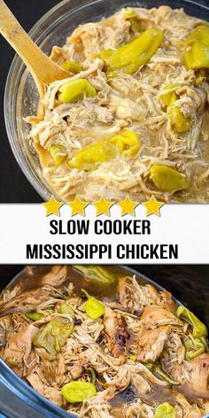 This version of Slow Cooker Mississippi Chicken is made without butter but with buttery chicken thighs instead. and Drink slow cooker Slow Cooker Mississippi Chicken Slow Cooker Huhn, Crock Pot Slow Cooker, Slow Cooker Chicken, Slow Cooker Recipes, Crockpot Recipes, Cooking Recipes, Healthy Recipes, Healthy Food, Slow Cooking