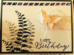Birthday Card: New 2015 SU Occasions catalogue. Stamp Set: Butterfly Basics; Paper: Naturals White, Mossy Meadow, Whisper White; Ink: Mossy Meadow, Blackberry Bliss, Crisp Cantaloupe; Punches: Elegant Butterfly, Bitty Butterfly; Embellishments: linen thread, Basic Pearls. By Debbie Freeman