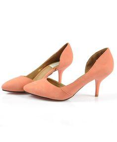 Orange Leather Point Heeled Shoes
