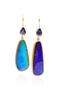 One of a Kind Pear Shape Blue Sapphire and Boulder Opal Bon Bon Earrings by Mallary Marks - Moda Operandi