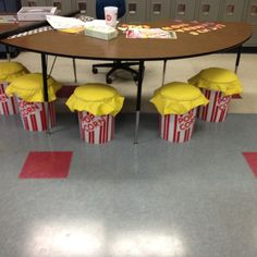 Movie Themed Classroom / Popcorn inspired bucket seats-so many things I could do with this theme! Popcorn Theme Classroom, Circus Theme Classroom, Stars Classroom, 3rd Grade Classroom, Classroom Design, Future Classroom, School Classroom, Movie Classroom, Classroom Decor