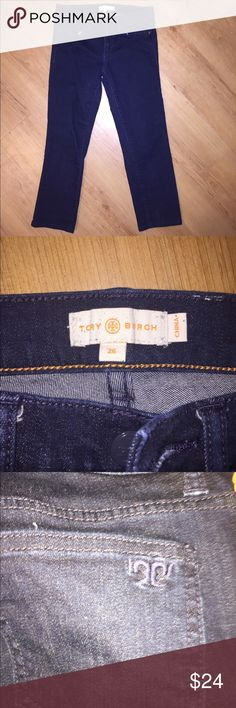Tory Burch crop jeans -size 26 Lovely Tory burch dark jean crops - size 26 - T on back pocket. -embossed Tory burch buttons and snaps on pockets. Super cute for summer! Tory Burch Pants Capris