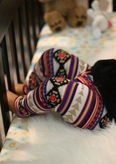 Colorful toddler leggings, aztec tribal print.