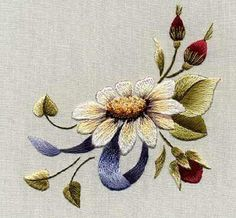 Wonderful Ribbon Embroidery Flowers by Hand Ideas. Enchanting Ribbon Embroidery Flowers by Hand Ideas. Embroidery Designs, Crewel Embroidery Kits, Paper Embroidery, Embroidery Needles, Silk Ribbon Embroidery, Cross Stitch Embroidery, Machine Embroidery, Embroidery Books, Embroidery Alphabet