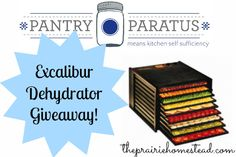 giveaway http://www.theprairiehomestead.com/2013/02/win-an-excalibur-dehydrator-from-pantry-paratus.html#more-4637