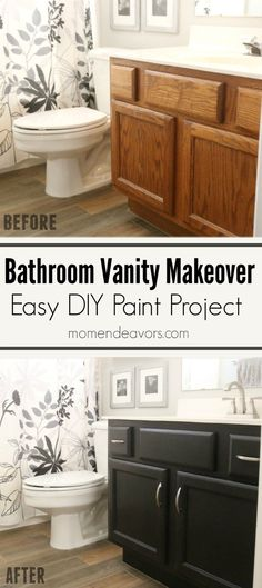 Bathroom Vanity Makeover – Easy DIY Home Paint Project. Paint suggestions and easy DIY tutorial for painting bathroom cabinets black with paint from @lowes. PaintWithLowes #AD