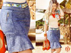 Saia jeans estampada da Base Café Verão 2015!