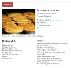 Fun Baking Recipes, Tart Recipes, Cooking Recipes, Lunch Snacks, Savory Snacks, Milk Tart, South African Recipes, Mince Pies, Suppers