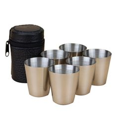 6PCS Travel Outdoor Cups Shots Set Stainless Steel Mini Glasses For Whisky Wine 30ml LH8s