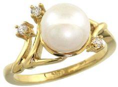 14k Gold Diamond Vine Pearl Ring w/ 0.085 Carat by WorldJewels