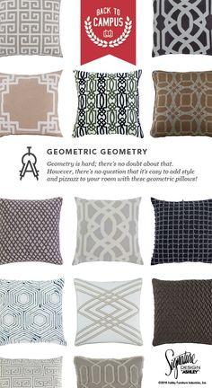 Geometric Geometry Accent Pillows Back To Campus Style School Furniture And