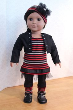5 piece set for American Girl doll dress jacket par BrooksideLane, $36,00