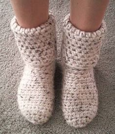 Crocheted slipper boots!
