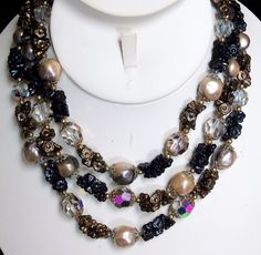 Vintage VENDOME Art Glass Flowers AB Crystal Beads Mabe Pearls 3 Strand Necklace #Vendome #Vendome3StrandArtGlassCrystalPearlNecklace