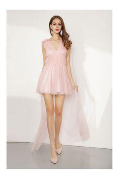 5dff6eb30f6ed0 Shop Hi Low Short Pink Tulle Party Dress V Neck For Juniors online. SheProm  offers formal