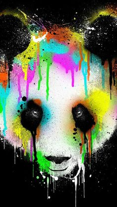 This picture shows the significance of the art work of the panda bear and it's true color. Panda Love, Cute Panda, Panda Wallpapers, Cute Wallpapers, Iphone Wallpapers, Cute Wallpaper For Phone, Cool Wallpaper, Paint Wallpaper, Cool Screensavers