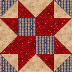 Classic Country 8 Point FREE quilt block pattern at www.countryjunktion.com