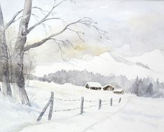 Winter in den Bergen - Aquarell - Original - 24 x 32 cm - Schnee, Winterurlaub