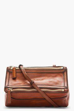 GIVENCHY | Brown Vintage Leather Mini Pandora Shoulder Bag