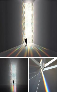 Tokujin Yoshioka - Rainbow Church (2010), a window installation of 500 crystal prisms refracting light Interaktives Design, Interior Design, Light Art Installation, Art Installations, Instalation Art, Licht Box, Light And Space, Light And Shadow, Lighting Design